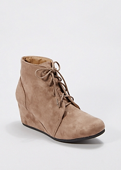 Taupe Lace-Up Wedge Bootie