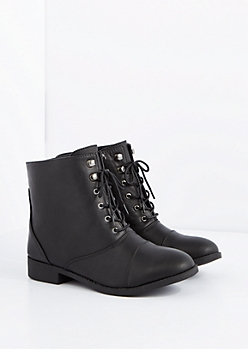 Black Lace-Up Bootie - Wide Width