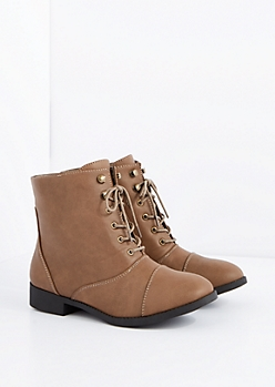 Taupe Lace-Up Bootie - Wide Width