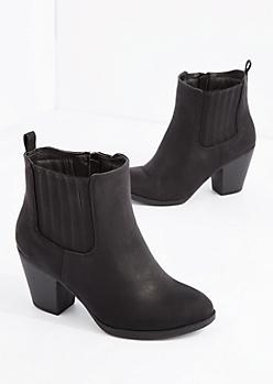 Black Paneled Heeled Bootie - Wide Width