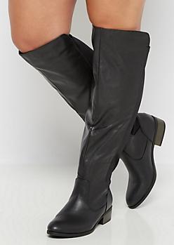 Black Gore Back Knee High Boot - Wide Width