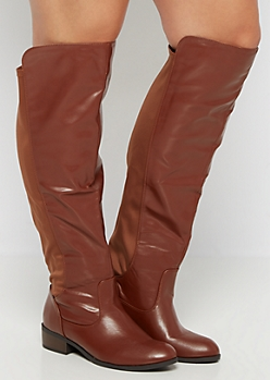 Brown Gore Back Knee High Boot - Wide Width
