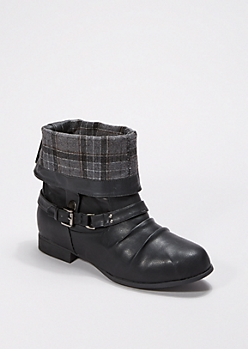 Black Rolled Collar Bootie - Wide Width