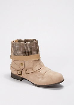 Taupe Rolled Collar Bootie - Wide Width