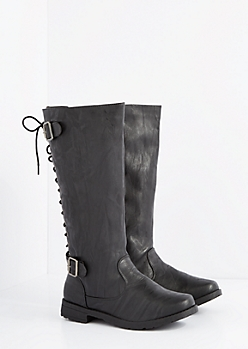 Black Lace-Up Knee High Boot - Wide Width