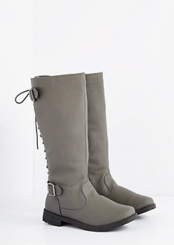 Gray Lace-Up Knee High Boot - Wide Width