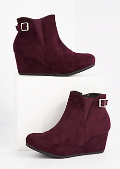 Burgundy Buckled Wedge Bootie - Wide Width