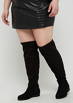Faux Suede Over The Knee Flat Boot - Wide Width
