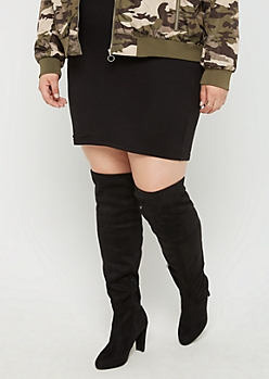 Black Faux Suede Over The Knee Boots - Wide Width