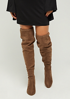 Taupe Faux Suede Over The Knee Boots - Wide Width