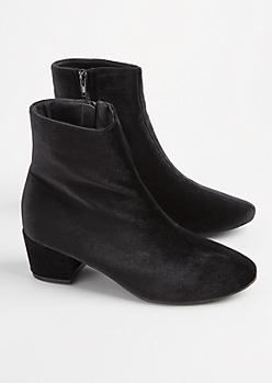 Black Velvet Bootie - Wide Width