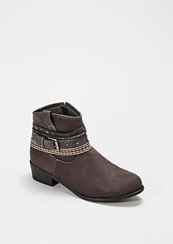 Black Southwestern Studded Bootie - Wide Width