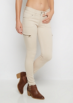 Tan Zip Pocket Skinny Pant