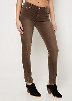 Brown Flex Corduroy Skinny Pant