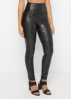 Faux Leather Pull On Jegging
