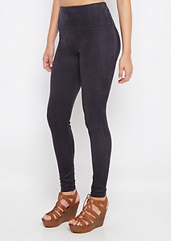 Black Faux Suede Jegging