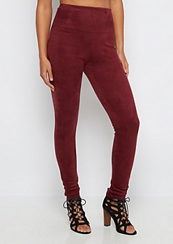 Burgundy Faux Suede Jegging