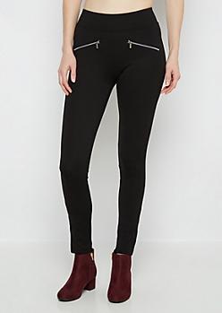 Black Double Zip Ponte Pant