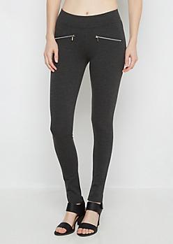 Charcoal Double Zip Ponte Pant