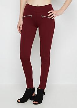 Burgundy Double Zip Ponte Pant