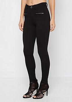Black Silver Zip Better Butt Ponte Pant