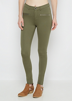 Olive Silver Zip Better Butt Ponte Pant