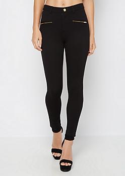 Black Gold Zip Better Butt Ponte Pant