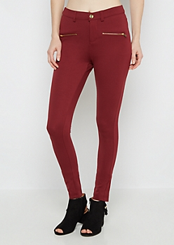 Burgundy Gold Zip Better Butt Ponte Pant