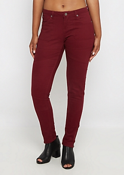 Burgundy Zip Ankle Moto Skinny Pant