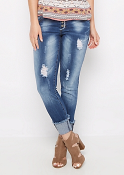 Distressed 4-Shank Jegging in Curvy