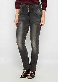 Flex Scratched High Waist Skinny Jean in Curvy