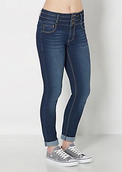 Dark Blue Cuffed High Waist Skinny Jean in Curvy