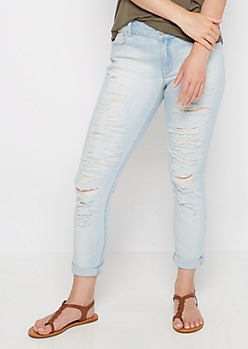 Light Destroyed Mid Rise Jegging in Curvy