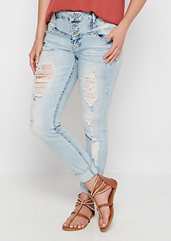 Light Destroyed High Waist Jegging in Curvy