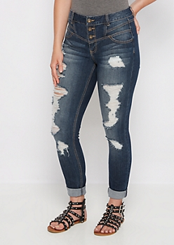 Medium Destroyed High Waist Jegging in Curvy