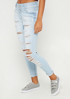 Light Blue Destroyed High Rise Skinny Jean in Curvy