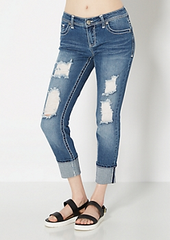 Ripped & Cropped Skinny Jean in Curvy