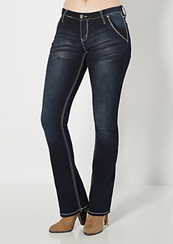 Whiskered Slim Boot Jean in Curvy