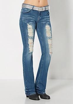 Destroyed Slim Boot Jean in Curvy
