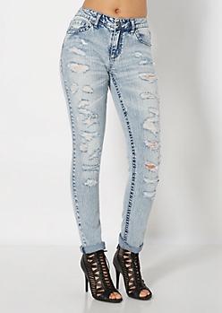 Acid Wash Cuffed Skinny Jean in Curvy