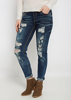 Flex Ripped & Washed Skinny Jean in Curvy