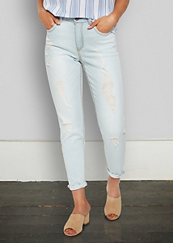 Light Blue Distressed High Rise Skinny Boyfriend in Curvy