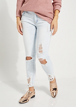 Light Blue Distressed Ankle Jeggings in Curvy