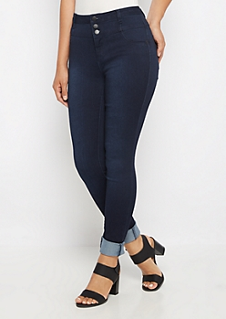Flex Dark Blue High Waist Jegging in Curvy
