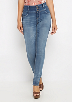 Flex Sandblasted High Waist Jegging in Curvy