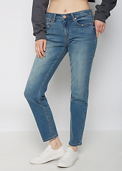 Medium Blue Washed Skinny Jean in Long
