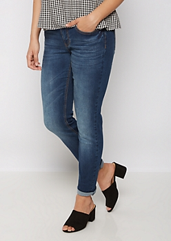 Dark Blue Washed Skinny Jean in Long