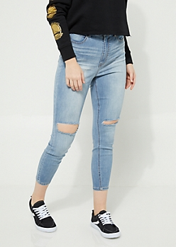 Medium Wash Slit Knee Uber High Rise Jeggings in Curvy