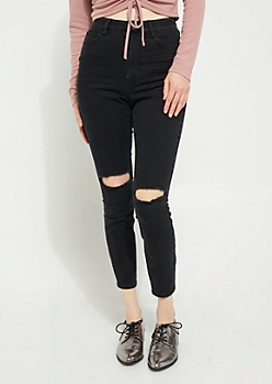 Black Blown Out Knees Extra High Rise Jeggings in Curvy
