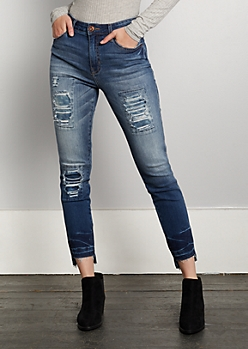 Dark Blue Patched High Rise Skinny Jean in Regular